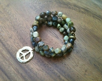 PEACE OFFERING yellow turquoise peace charm bracelet