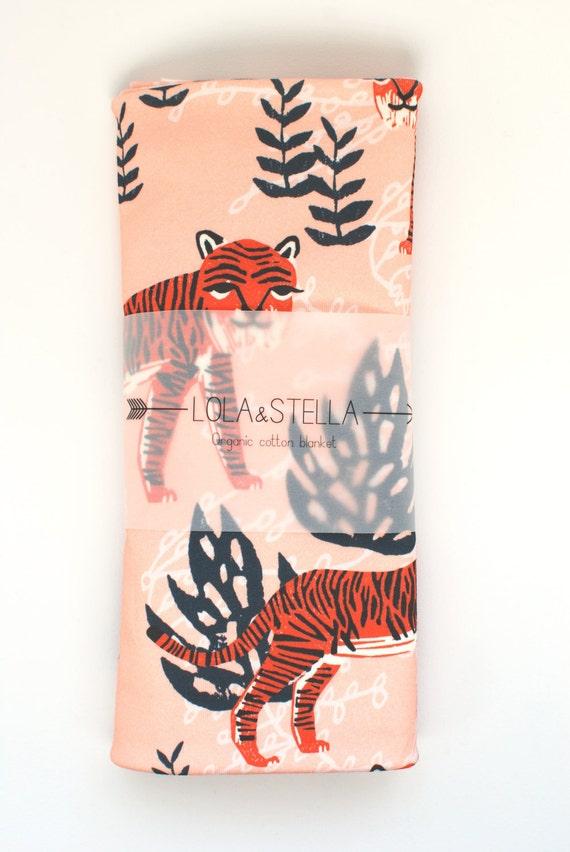 Organic baby blanket in tiger print, organic crib blanket, organic swaddling blanket, organic baby blanket, baby blanket, swaddle