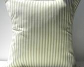 New 18x18 inch Designer Handmade Pillow Cases in green on cream ticking stripe