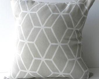 New 18x18 inch Designer Handmade Pillow Case in warm stone grey geometric lattice
