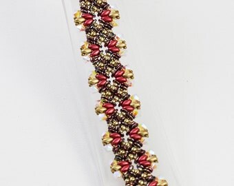 LIZI Czech SuperDuo  and O Beads with  Swarovski crystals Bracelet tutorial instructions for personal use only