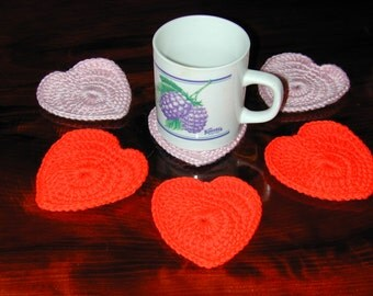 Mug Rugs or Applique 6 Hearts Red and Pink