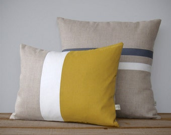 Colorblock Stripe Pillow Set | Gray and Cream Striped Pillow (16x16) Mustard Yellow and Cream Colorblock Pillow (12x16) by JillianReneDecor