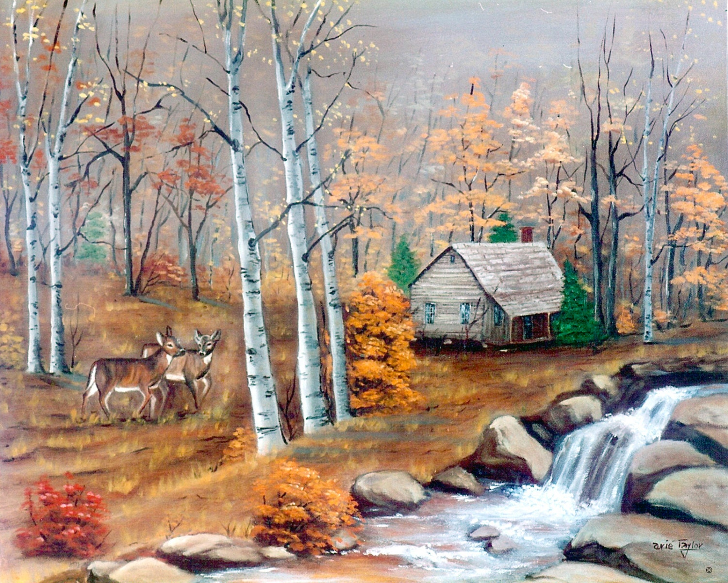Log cabin in the woods painting -  Zoom