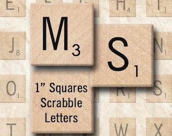 Digital Collage Sheet 1 Inch Squares Scrabble Letter Tiles JPEG and PNG Instant Download 1S007