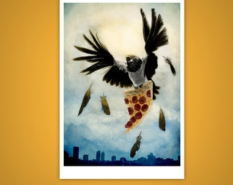 African Pied Crow, Pizza Thievin Bastard 5x7 Giclee Illustration Print, Cheeky, Humor