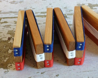 Toy Jacob's Ladder - Handcrafted Wooden Folk Toy Jacob's Ladder Red  White and Blue