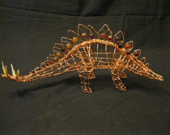 Stegosaurus Dinosaur Natural-Copper Wire Sculpture