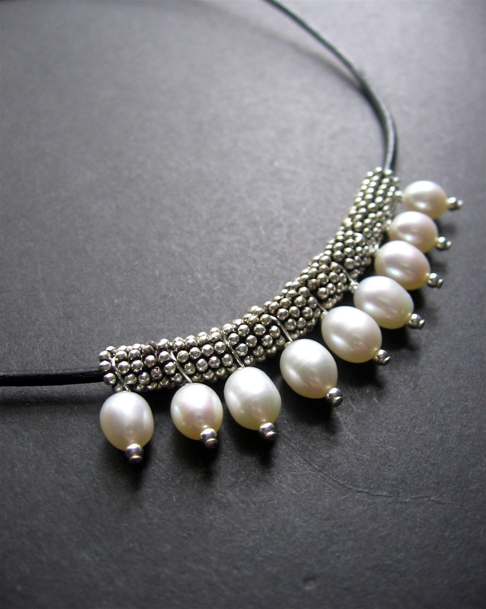 pearl necklace leather pearl necklace tremont necklace