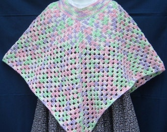 Child's Crocheted Rainbow Poncho