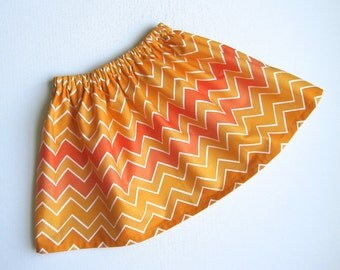 RTS Skirt Sizes 5T and 3T Pumpkin Chevron Twirl - Ready To Ship- Handcrafted by Valeriya