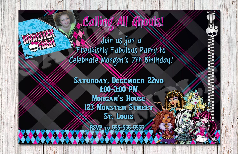 Monster High Geburtstag Einladung Zum Ausdrucken, Einladungskarten