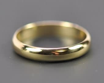 18K Yellow Gold 4x1.5mm Half Round Wedding Band, Classic Ring, Eco-Friendly, Sea Babe Jewelry