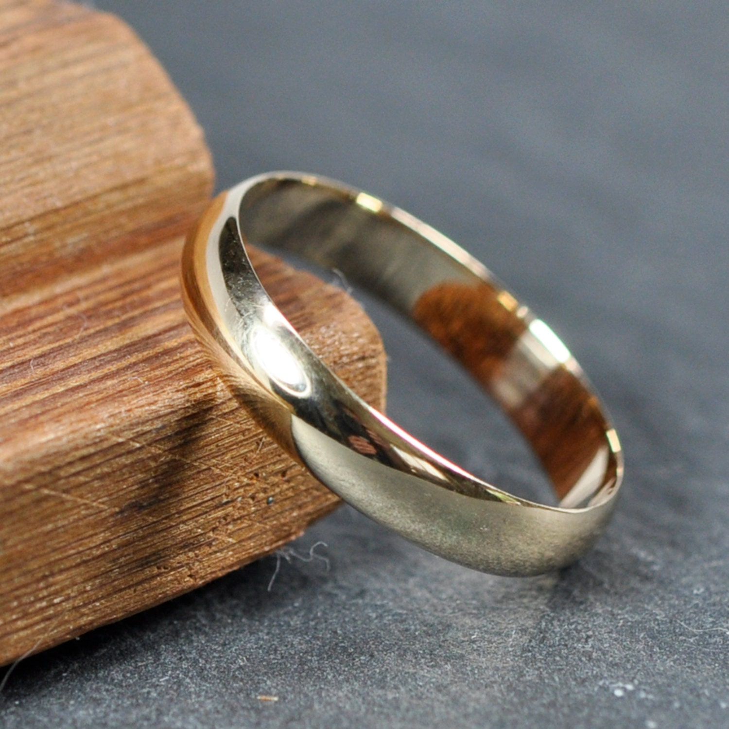 4mm wide half round low profile ring gold wedding band 14k