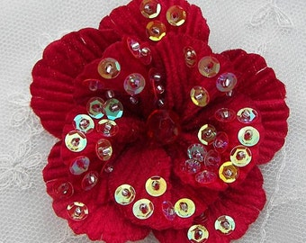 "2.75"" Handmade Velvet Beaded w Sequins Glass Beads RED Poppy Flower Bridal Corsage"