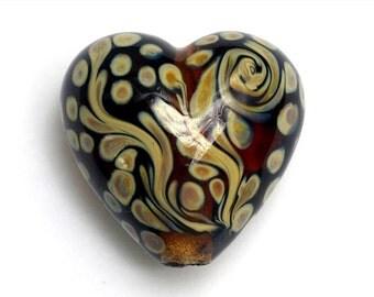 Handmade Lampwork Bead - Brown w/Beige Dots Heart Focal Bead 11808705