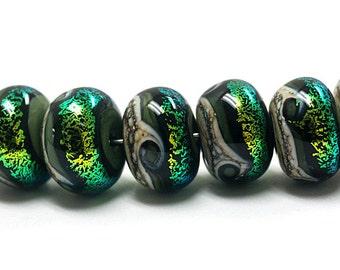Seven Olivine Rondelle Beads 10506401 - Handmade Glass Lampwork Beads