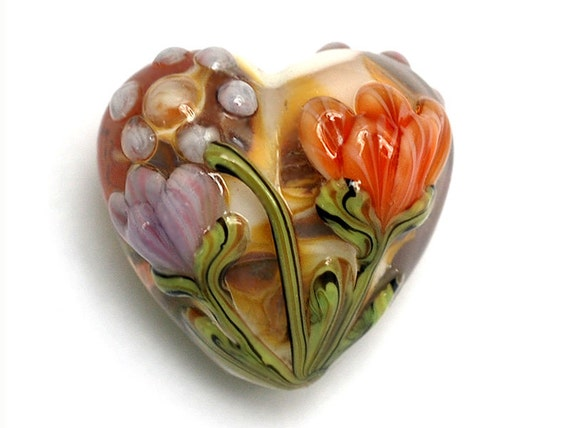 Light Pink w/Orange Floral Heart Focal Bead - Handmade Glass Lampwork Bead 11815005