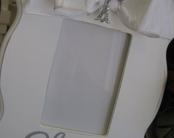 hand painted personalized first communion or christening picture frame couture white bling
