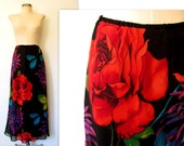 50% off SALE - Floral Skirt / Maxi Skirt / A Rose is a Rose