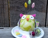 Owl on a palette - owl pincushion - little bird.