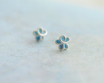 5mm Pale Aqua Blue Forget Me Not Post Earrings, 4th 1st Anniversary Gift Paper Jewelry Bridesmaid Coworker Boss Girlfriend Best Friend Small