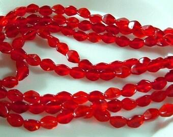 Bead 3 sided PINCH Diamond Czech Glass Beads 5mm x 3mm CHERRY HEART Red Glass - (50)