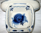 Blue White Gzel Porcelain small ash tray telephone shape vintage 80s handmade in Russia