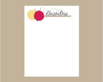 Knitting notepad, Grandma notepad, Personalized Notepad, Teacher gift, stocking stuffer