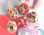 Red Yellow Japanese Oriental Blossom Flower Fabric Buttons, Japanese Oriental Blossom Flower Fridge Magnets, Flat Backs, 1.1 Inches 5's
