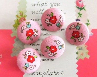 Handmade Small White Pink Red Rose Floral Flower Fabric Covered Buttons, Flat Backs, 0.8 Inches 5's