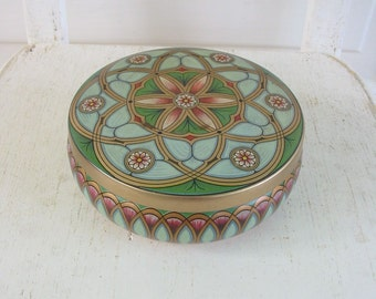 Vintage Metal Tin Box  Biscuit Candy Storage Flowers Pink Blue