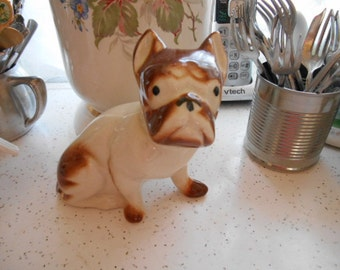 Vintage Pottery Brown and White Bull Dog Figurine
