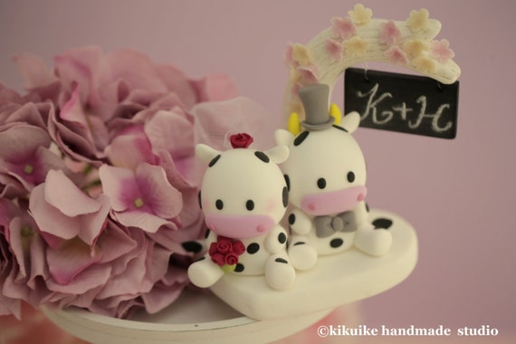 cow Wedding Cake Topper-love cow,ox---k749