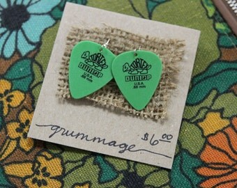 Green Dunlop Turtle Guitar Pick Earrings