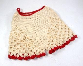 Vintage Crochet Pot Holder, Potholders, Pants, Bloomers, Mid Century Kitchen Decor, Retro, Red, Beige