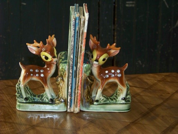 Vintage fawn bookends ceramic retro deer by traceyanns on etsy - Deer antler bookends ...