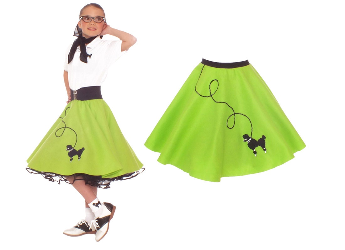 yrs Small Child - 50's Poodle Skirt - Black w/Pink Poodle Product - Poodle 50S 50'S Skirt Sock Hop Bobby Soxer Pink Adult Womens Grease Costume Product Image.