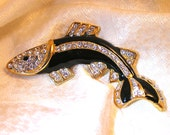 Vintage Black Enamel and Rhinestone Leaping Whale or Fish Brooch. (J120)