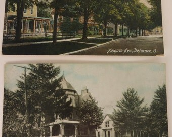 2 Antique Postcards Defiance Ohio 1920s