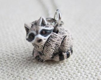 Tiny Raccoon Ceramic Necklace  (R3A)