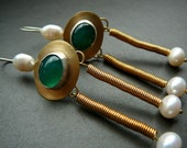 Rome III historical earrings - brass, fine silver and green agate