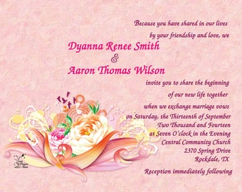 Wedding Invitations - Pretty in Pink