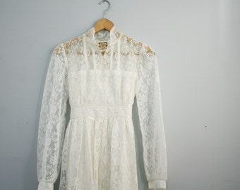 vintage 70s Prairie or Woodland Wedding Dress Gunne Sax Jessica McClintock Gown- Victorian Halloween Costume XS