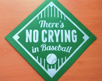 """There's No Crying in Baseball 12"""" x12"""" Linocut Art Print"""