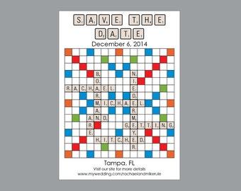 "Wedding Save the Dates - Vintage Antique Retro Scrabble Board Game ""Scrabble"" Wedding Save the Dates"