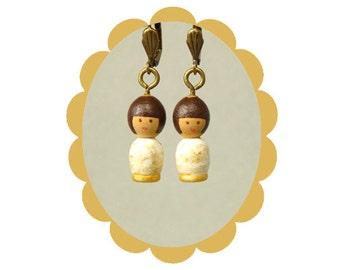 OOAK golden mini girl Hand painted earring wooden art doll wearable gold white chandelier Unique design pattern