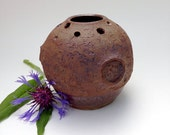 Unique Textured Stoneware Moon Vase with Coppery Brown Accents