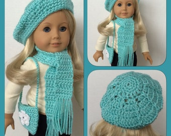 Doll Clothes Made To Fit American Girl 3 Pc Slouchy Hat, Scarf, Shoulder Bag, Crochet, Pretty Robins Egg Blue