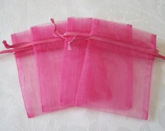 20 Pink Drawstring Bags, Jewelry Bags, Gift Bags, Organza Bags, Wedding Favor Bags, Bridesmaid Gift Bag, Sachet Bag, Drawstring Pouch 3x3